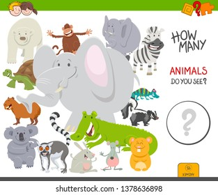 Cartoon Illustration of Educational Counting Activity Game for Children with Funny Wild Animal Characters