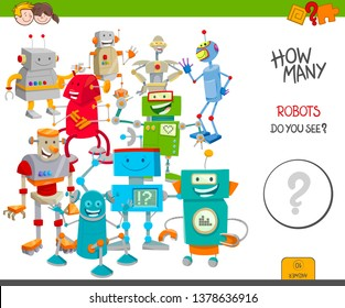Cartoon Illustration of Educational Counting Activity Game for Children with Many Funny Robots and Droids Characters