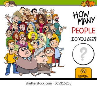 Cartoon Illustration of Educational Counting Activity for Children with People Characters Crowd