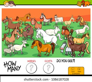 Cartoon Illustration of Educational Counting Game for Children with Horses and Goats Farm Animals Characters Group
