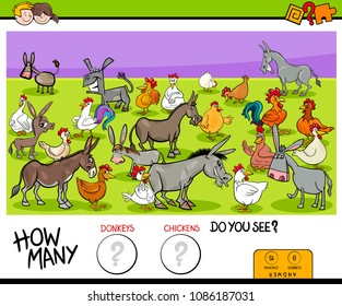 Cartoon Illustration of Educational Counting Game for Children with Donkeys and Chickens Farm Animals Characters Group