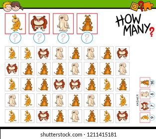 Cartoon Illustration of Educational Counting Game for Children with Funny Dog Characters