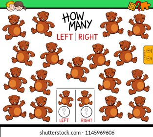 Cartoon Illustration of Educational Game of Counting Left and Right Picture for Children with Bear Character
