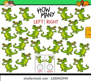 Cartoon Illustration of Educational Game of Counting Left and Right Oriented Pictures for Children with Funny Crocodile Character