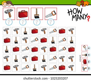 Cartoon Illustration of Educational How Many Counting Activity for Children with Tools and Objects