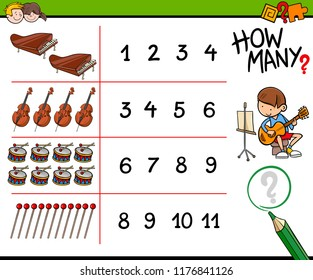 Cartoon Illustration of Educational How Many Counting Activity for Children with Musical Instruments