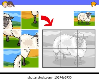 Cartoon Illustration of Educational Jigsaw Puzzle Activity Game for Children with Funny Sheep Farm Animal Character