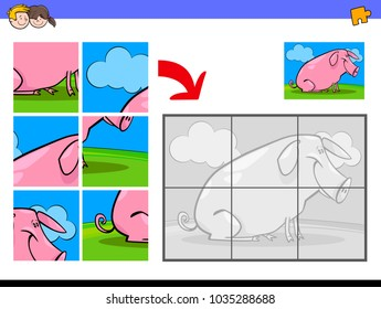 Cartoon Illustration of Educational Jigsaw Puzzle Activity Game for Children with Funny Pig Farm Animal Character