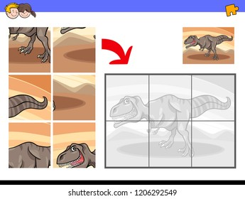 Cartoon Illustration of Educational Jigsaw Puzzle Activity Game for Children with Tyrannosaurus Dinosaur Animal Character