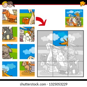 Cartoon Illustration of Educational Jigsaw Puzzle Game for Children with Happy Dogs and Cats Animal Characters