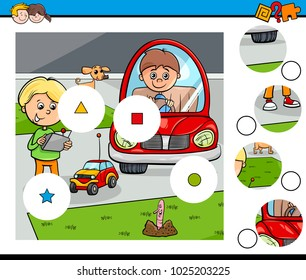 Cartoon Illustration of Educational Match the Pieces Jigsaw Puzzle Game for Children with Kid Boys and Toys