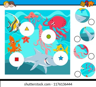 Cartoon Illustration of Educational Match the Pieces Jigsaw Puzzle Game for Children with Sea Life Animal Characters Group
