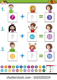 Cartoon Illustration of Educational Mathematical Addition Puzzle Game for Preschool and Elementary Age Children with Boys and Girls Comic Characters