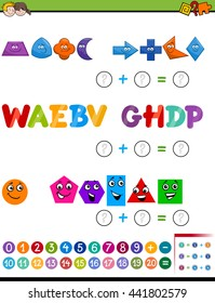 Cartoon Illustration of Educational Mathematical Addition Activity Task for Preschool Children with Shapes and Letters