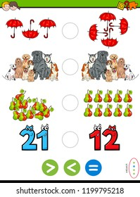 Cartoon Illustration of Educational Mathematical Puzzle Game of Greater Than, Less Than or Equal to for Kids