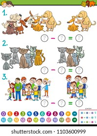 Cartoon Illustration of Educational Mathematical Subtraction Puzzle Game for Preschool and Elementary Age Children with Kids and Animal Characters
