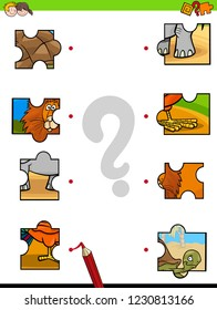 Cartoon Illustration of Educational Pictures Matching Game for Children with Jigsaw Puzzles