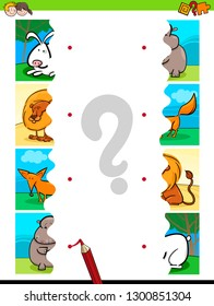 Cartoon Illustration of Educational Pictures Matching Game for Children with Jigsaw Puzzles of Cute Animals
