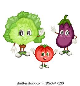 Cartoon Illustration of an Eggplant, Tomato and Ice Lettuce. Set of Cute Veggie Mascots. Vector Illustration