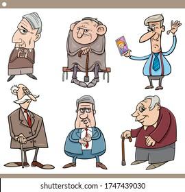 Cartoon Illustration of Elder Men Seniors Characters Set