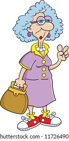 Cartoon illustration of a elderly lady holding a purse.