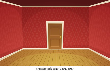 Cartoon illustration of empty, retro style room.