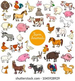 Cartoon Illustration of Farm Animal Characters Big Set