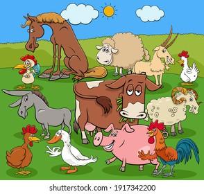 Cartoon illustration of farm animals comic characters group