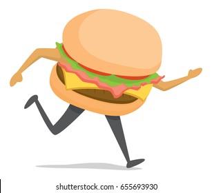 Cartoon illustration of fast food or burger on the run