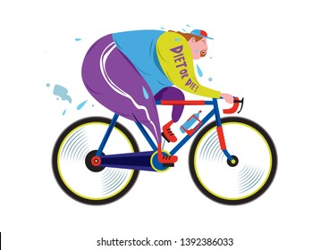 Cartoon Illustration of fat and overweight men riding bicycle for diet