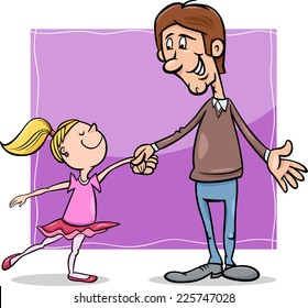 Cartoon Illustration of Father and Little Daughter Dancing Ballet