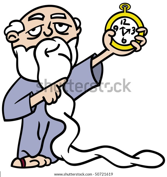 Cartoon illustration of Father Time with an extra long white beard pointing at a watch reminding us time is running out