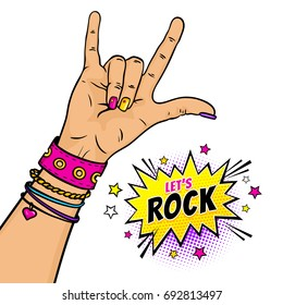 Cartoon illustration with female hand with rock n roll sign and Let's Rock dynamic speech bubble with stars. Vector colorful hand drawn objects in retro comic style isolated on white background.