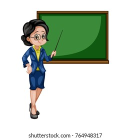 Cartoon Illustration of a Female Teacher with a Chalkboard and Pointer