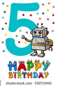 Cartoon Illustration of the Fifth Birthday Anniversary Greeting Card Design