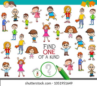 Cartoon Illustration of Find One of a Kind Picture Educational Activity Game for Kids with Children Characters