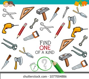 Cartoon Illustration of Find One of a Kind Picture Educational Activity Game for Children with Tools Objects