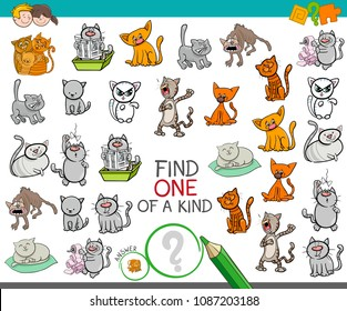 Cartoon Illustration of Find One of a Kind Picture Educational Activity Game for Children with Cats or Kittens Funny Animal Characters