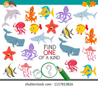 Cartoon Illustration of Find One of a Kind Educational Activity Game for Kids with Sea Life Animal Characters