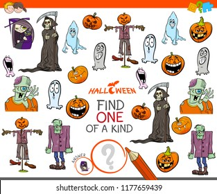 Cartoon Illustration of Find One of a Kind Picture Educational Game for Children with Halloween Characters