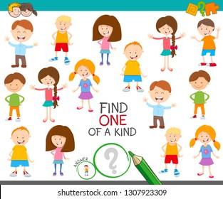 Cartoon Illustration of Find One of a Kind Picture Educational Activity Game with Cute Children Characters