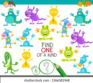 Cartoon Illustration of Find One of a Kind Picture Educational Activity Game with Funny Monsters or Aliens Fantasy Characters