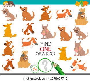 Cartoon Illustration of Find One of a Kind Picture Educational Activity Game with Cute Dogs Animal Characters