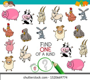 Cartoon Illustration of Find One of a Kind Picture Educational Activity Game for Children with Comic Farm Animal Characters