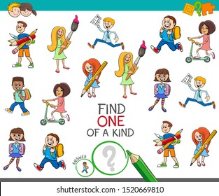 Cartoon Illustration of Find One of a Kind Picture Educational Activity Game for Children with School Kids and Teens Characters