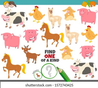 Cartoon Illustration of Find One of a Kind Picture Educational Game with Funny Farm Animal Characters
