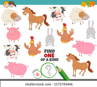 Cartoon Illustration of Find One of a Kind Picture Educational Task with Funny Farm Animal Characters