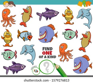 Cartoon Illustration of Find One of a Kind Picture Educational Game with Funny Sea Life Animal Characters