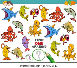 Cartoon Illustration of Find One of a Kind Picture Educational Game with Funny Sea Life Marine Animal Characters