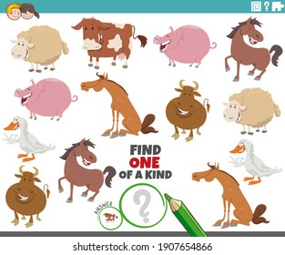 Cartoon illustration of find one of a kind picture educational game with comic farm animal characters